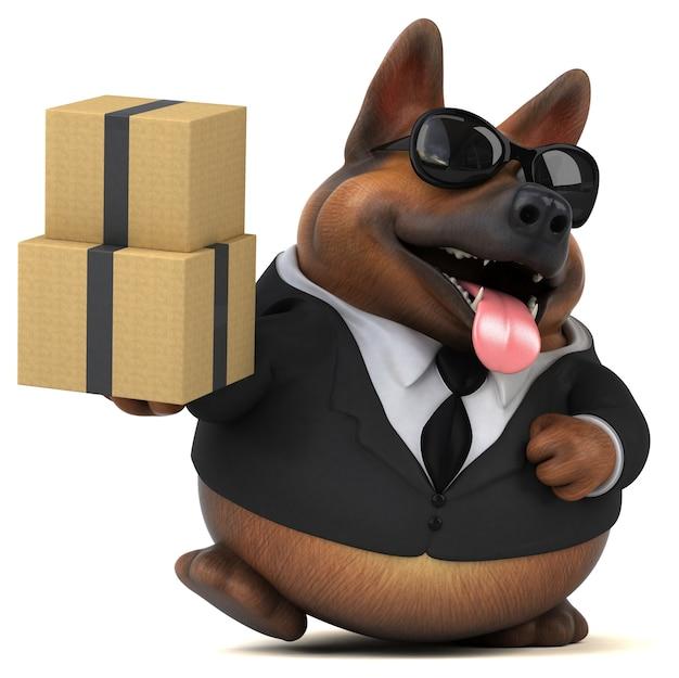 Ilustração 3d divertida para cão pastor alemão