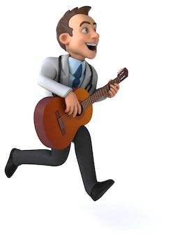 Ilustração 3d divertido médico e guitarra