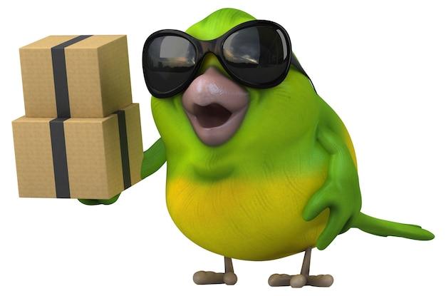 Ilustração 3d divertido pássaro verde