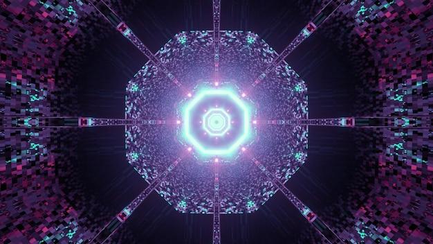 Ilustração 3d do abstrato do túnel sci fi redondo com reflexo de luzes de néon rosa e azul