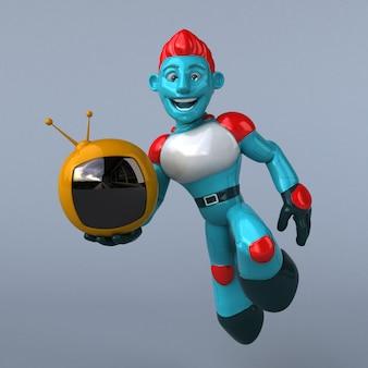 Ilustração 3d do android azul segurando a tv