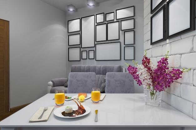 Ilustração 3d do apartamento de um quarto