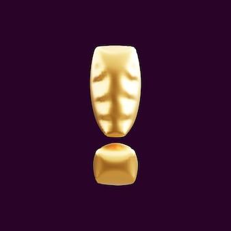 Ilustração 3d do balão do ponto de exclamação dourado.