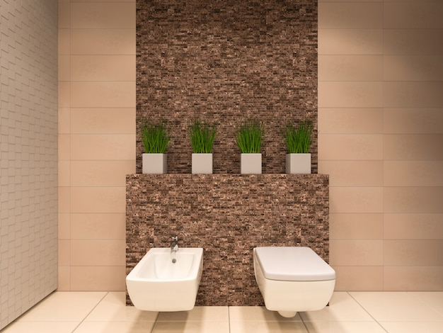 Ilustração 3d do banheiro em tons marrons