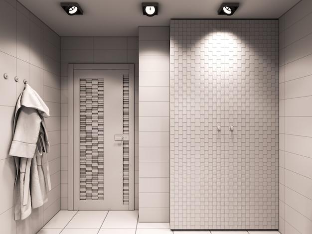 Ilustração 3d do banheiro sem cor e texturas