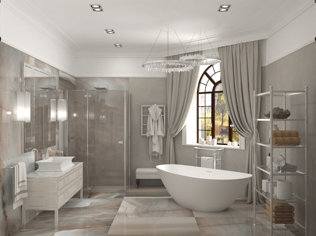 Ilustração 3d do banheiro