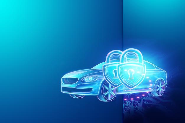 Ilustração 3d do cadeado renderização