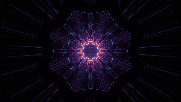 Ilustração 3d do caleidoscópio colorido em looping com luzes de néon no túnel escuro como pano de fundo abstrato
