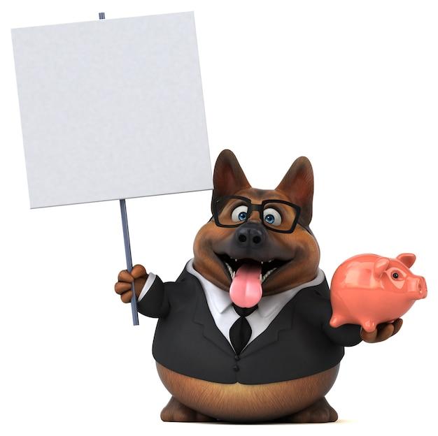 Ilustração 3d do cão pastor alemão