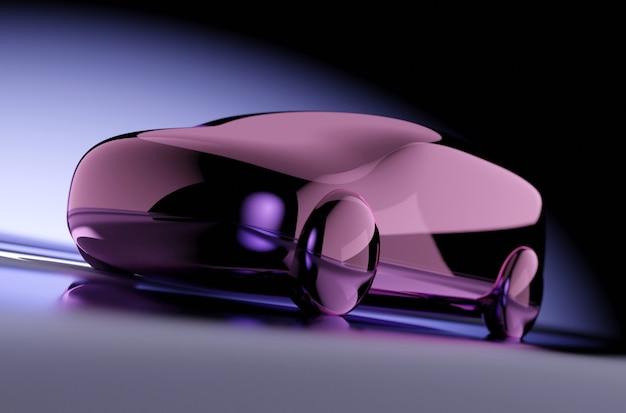 Ilustração 3d do carrinho de brinquedo de vinho brilhante na superfície cinza e fundo gradiente branco e preto com