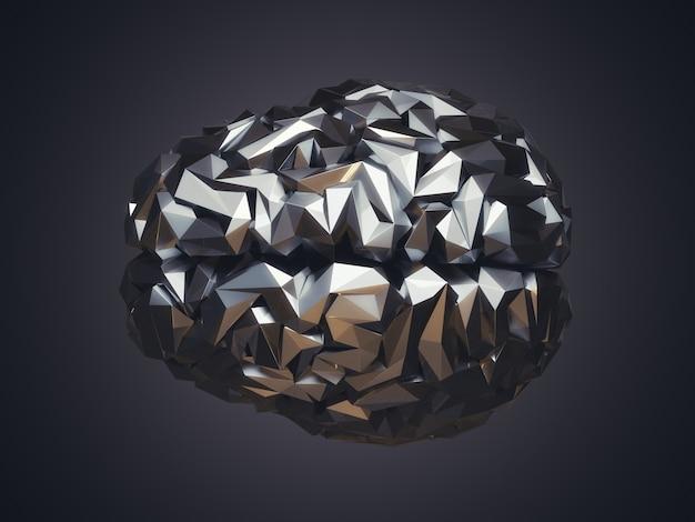 Ilustração 3d do cérebro humano baixo poli feito de metal. conceito ai