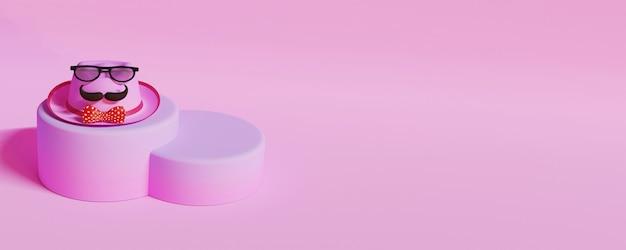 Ilustração 3d do chapéu fedora, usando óculos, bigode, gravata borboleta no pódio rosa.