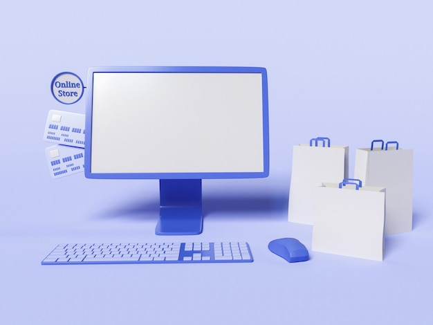 Ilustração 3d do computador com sacos de papel e cartões de crédito