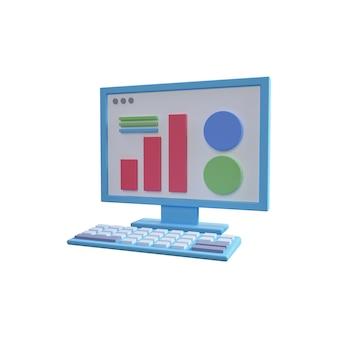 Ilustração 3d do computador isolada no branco. ilustração isolada do computador 3d. conceito de marketing digital 3d com gráficos e computador