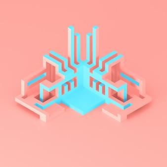 Ilustração 3d do conceito arquitetônico abstrato