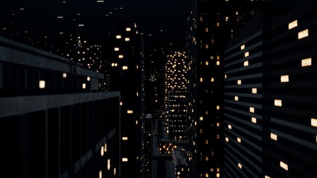 Ilustração 3d do conceito de comunicação do voo da câmera na cidade à noite