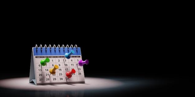 Ilustração 3d do conceito de data de compromissos de calendário de mesa