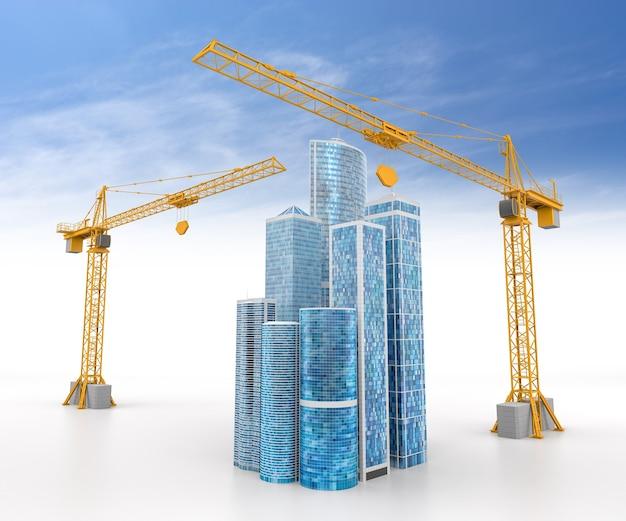 Ilustração 3d do conceito de projeto de construção. renderização 3d