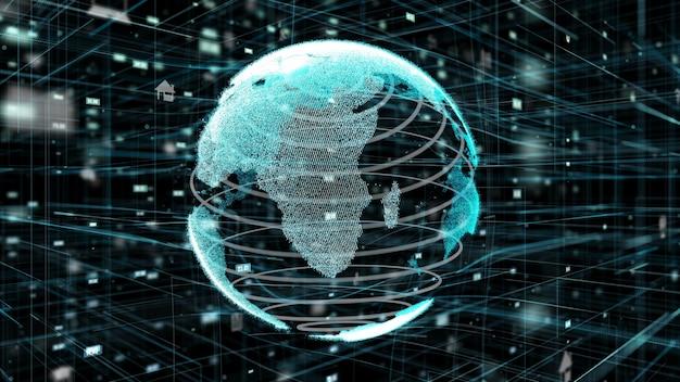 Ilustração 3d do conceito de rede global de internet online