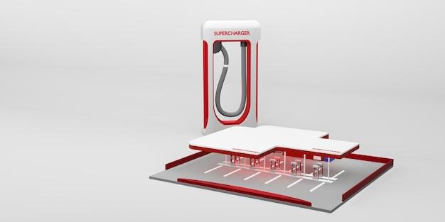 Ilustração 3d do conceito de tecnologia de nova energia da bateria de carro elétrico da estação de carregamento