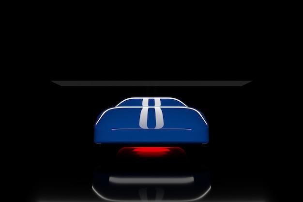 Ilustração 3d do contorno de um carro de corrida azul com reflexos com listras brancas no capô e luz vermelha na parte inferior em um fundo preto