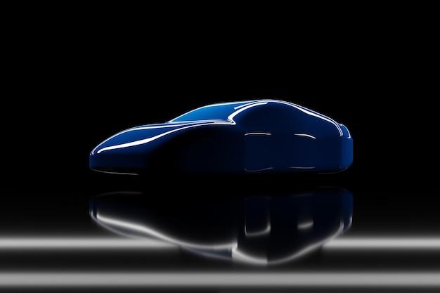 Ilustração 3d do contorno de um carro de corrida azul com reflexos em um fundo preto