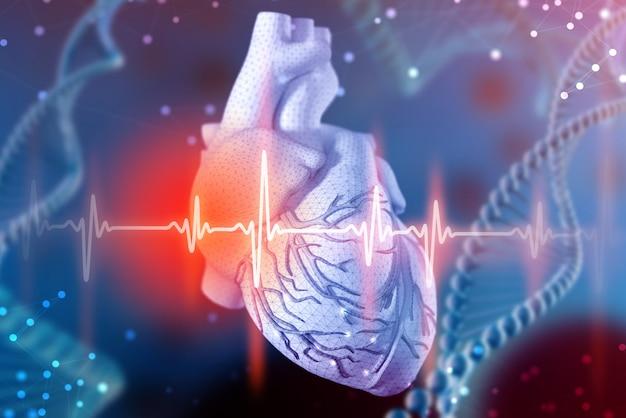 Ilustração 3d do coração e do cardiograma humanos. tecnologias digitais em medicina
