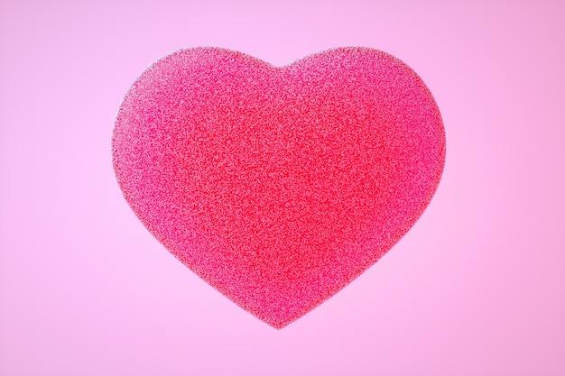 Ilustração 3d do coração gomoso rosa com pequenas peças de açúcar sobre fundo rosa claro