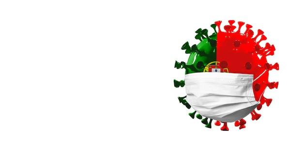 Ilustração 3d do coronavírus covid-19 colorido na bandeira nacional de portugal em máscara facial,