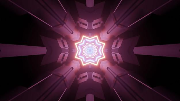 Ilustração 3d do corredor da nave espacial de ficção científica com molduras em forma de estrela e iluminação futurista de néon para o resumo