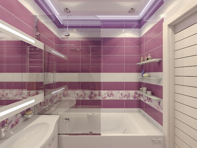 Ilustração 3d do desenho de uma casa de banho em violeta