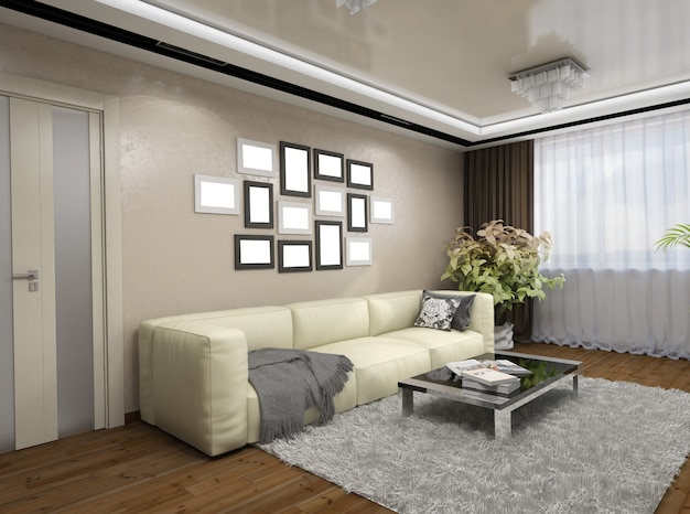Ilustração 3d do design de uma sala de estar em tons de bege