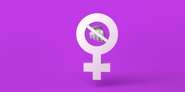 Ilustração 3d do dia internacional para a eliminação da violência contra o feminismo feminino