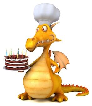 Ilustração 3d do dragão divertido