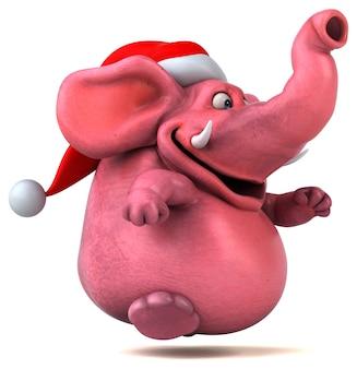 Ilustração 3d do elefante rosa