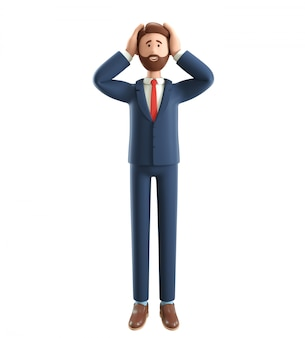 Ilustração 3d do empresário decepcionado, segurando a cabeça dele.