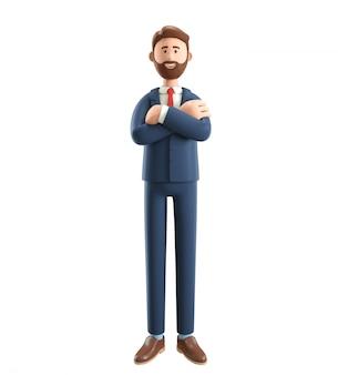 Ilustração 3d do empresário sorridente com as mãos cruzadas.