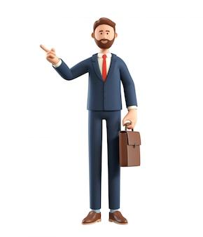 Ilustração 3d do empresário sorridente com saco apontando o dedo para longe.
