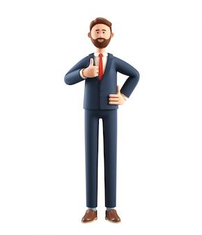Ilustração 3d do empresário sorridente, mostrando o gesto legal.