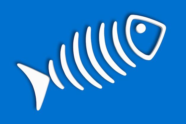 Ilustração 3d do estilo do esqueleto do peixe. fundo azul isolado.