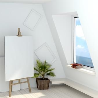 Ilustração 3d do estúdio de um artista livre com uma janela que negligencia o mar.