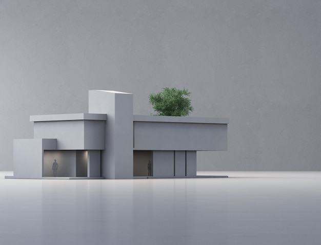 Ilustração 3d do exterior do edifício residencial.
