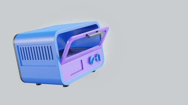 Ilustração 3d do forno com cor pastel