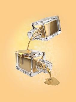 Ilustração 3d do frasco cosmético ouro com gotas