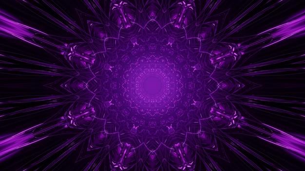 Ilustração 3d do fundo abstrato com luz circular violeta neon brilhante com raios simétricos na escuridão