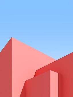 Ilustração 3d do fundo abstrato da arquitetura. cartaz arquitetônico mínimo.