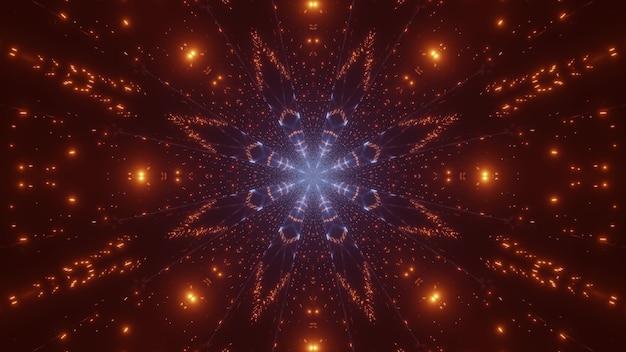 Ilustração 3d do fundo abstrato de faíscas vivas de laranja e azul brilhando e formando um ornamento simétrico