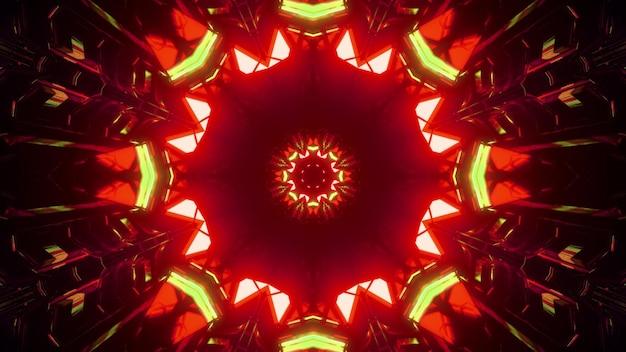 Ilustração 3d do fundo abstrato de um corredor redondo brilhante com formas geométricas iluminadas por luzes vermelhas e verdes