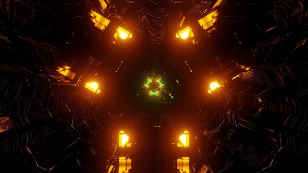 Ilustração 3d do fundo abstrato de um túnel futurista tridimensional em forma de triângulo iluminado por luzes laranja e verdes