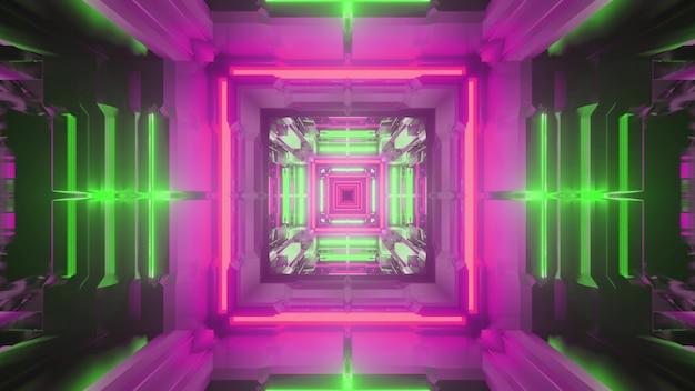 Ilustração 3d do fundo abstrato de um túnel sem fim em forma de quadrado